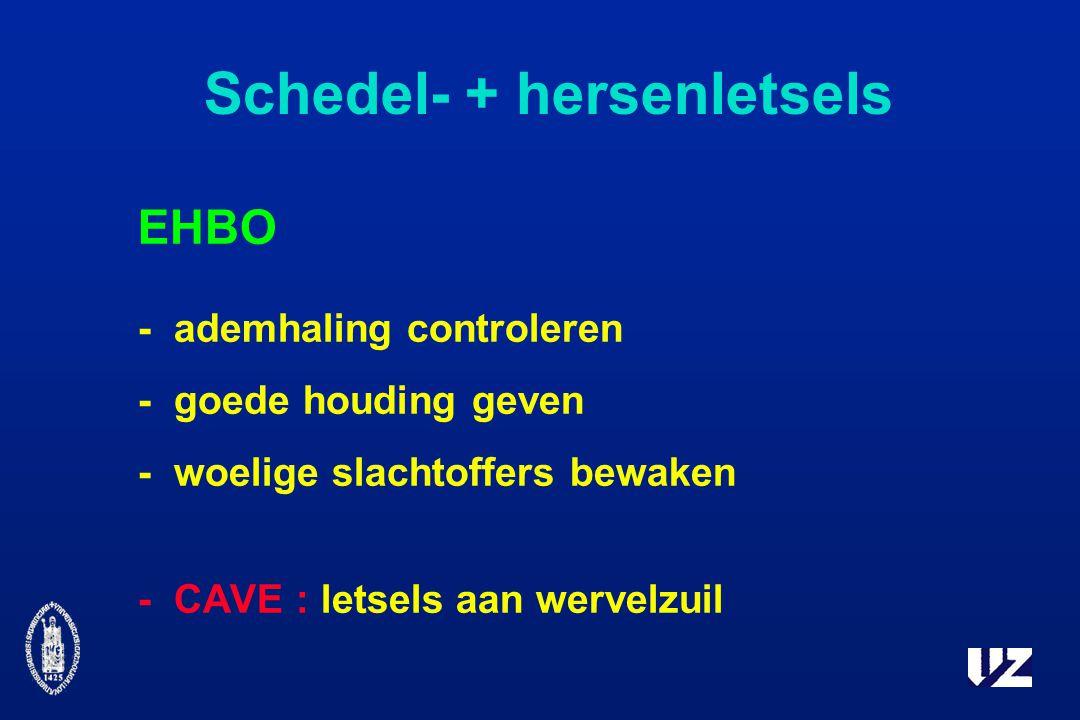 Schedel- + hersenletsels EHBO -ademhaling controleren -goede houding geven -woelige slachtoffers bewaken -CAVE : letsels aan wervelzuil