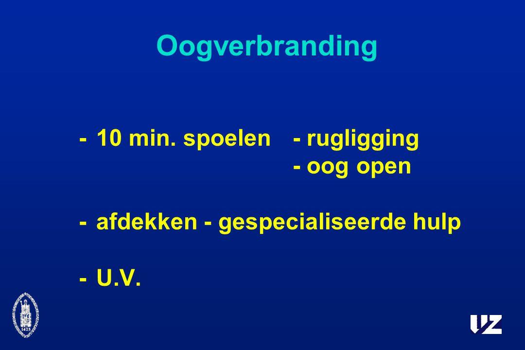 Oogverbranding -10 min. spoelen- rugligging - oog open -afdekken - gespecialiseerde hulp -U.V.
