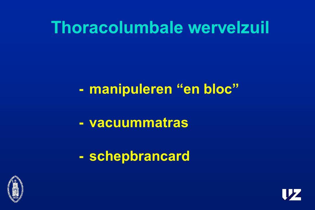 Thoracolumbale wervelzuil -manipuleren en bloc -vacuummatras -schepbrancard