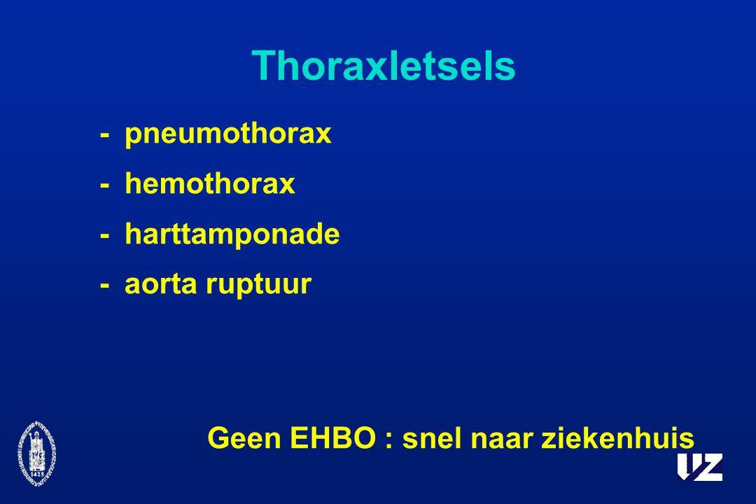 Thoraxletsels -pneumothorax -hemothorax -harttamponade -aorta ruptuur Geen EHBO : snel naar ziekenhuis