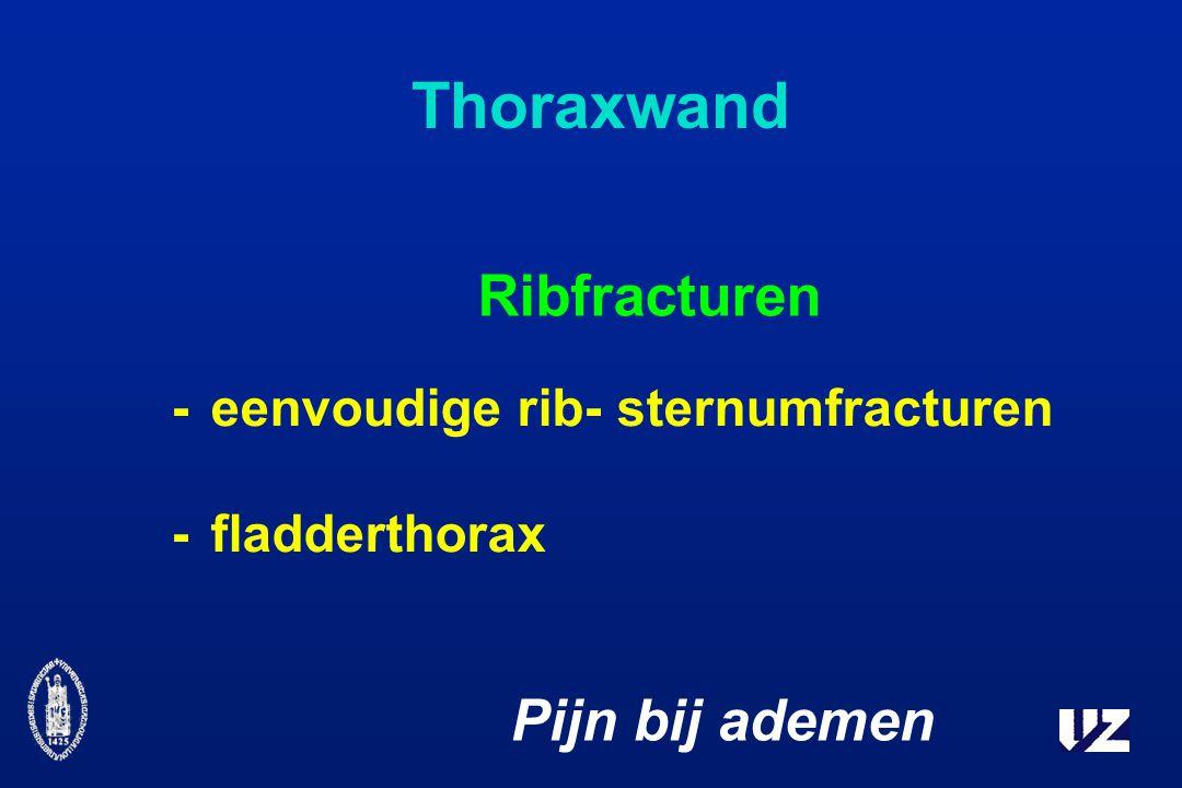 -eenvoudige rib- sternumfracturen -fladderthorax Pijn bij ademen Thoraxwand Ribfracturen