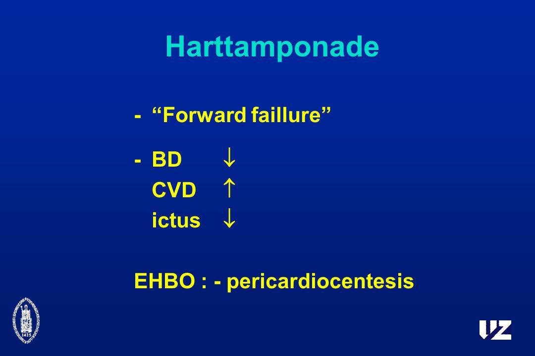 Harttamponade - Forward faillure -BD  CVD  ictus  EHBO : - pericardiocentesis