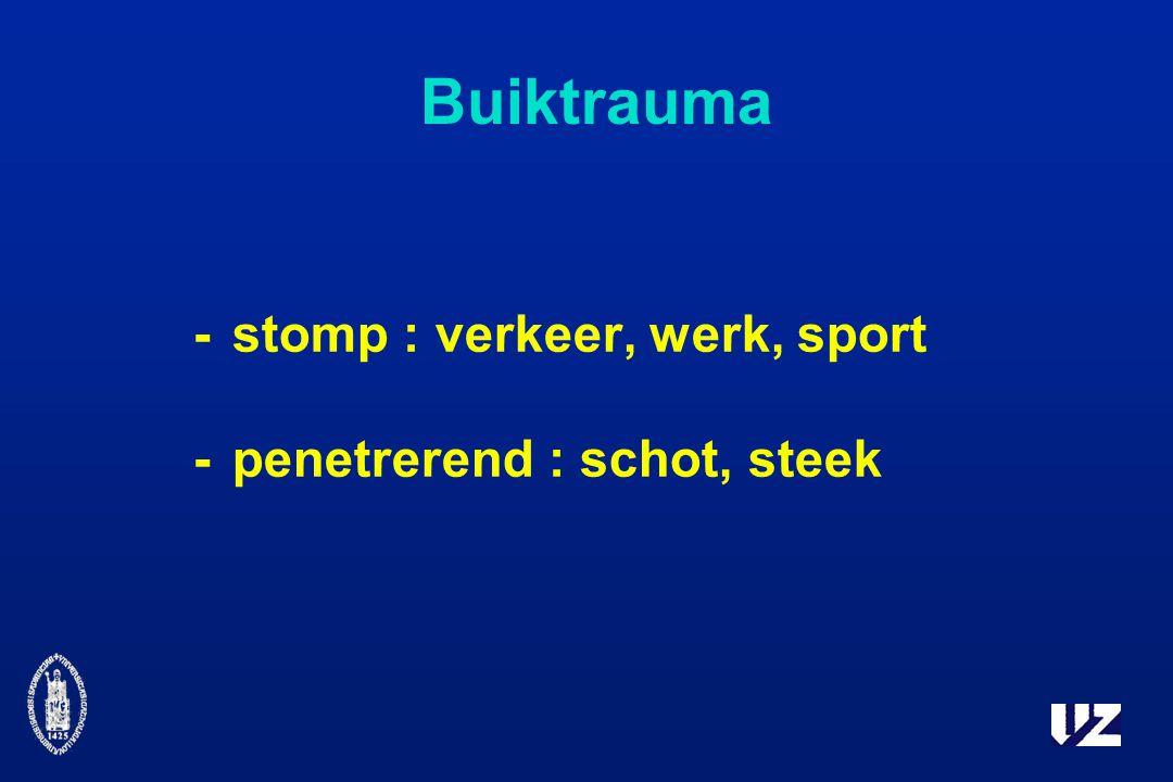 Buiktrauma -stomp : verkeer, werk, sport -penetrerend : schot, steek