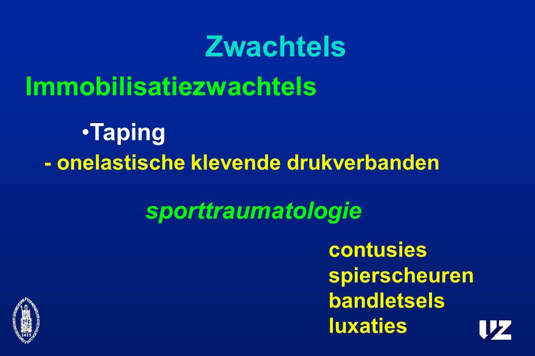 Zwachtels Taping Immobilisatiezwachtels - onelastische klevende drukverbanden sporttraumatologie contusies spierscheuren bandletsels luxaties