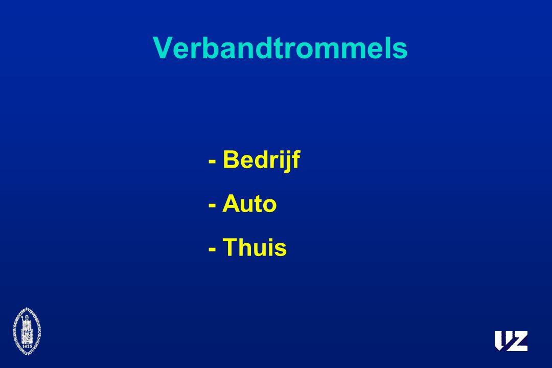 Verbandtrommels - Bedrijf - Auto - Thuis