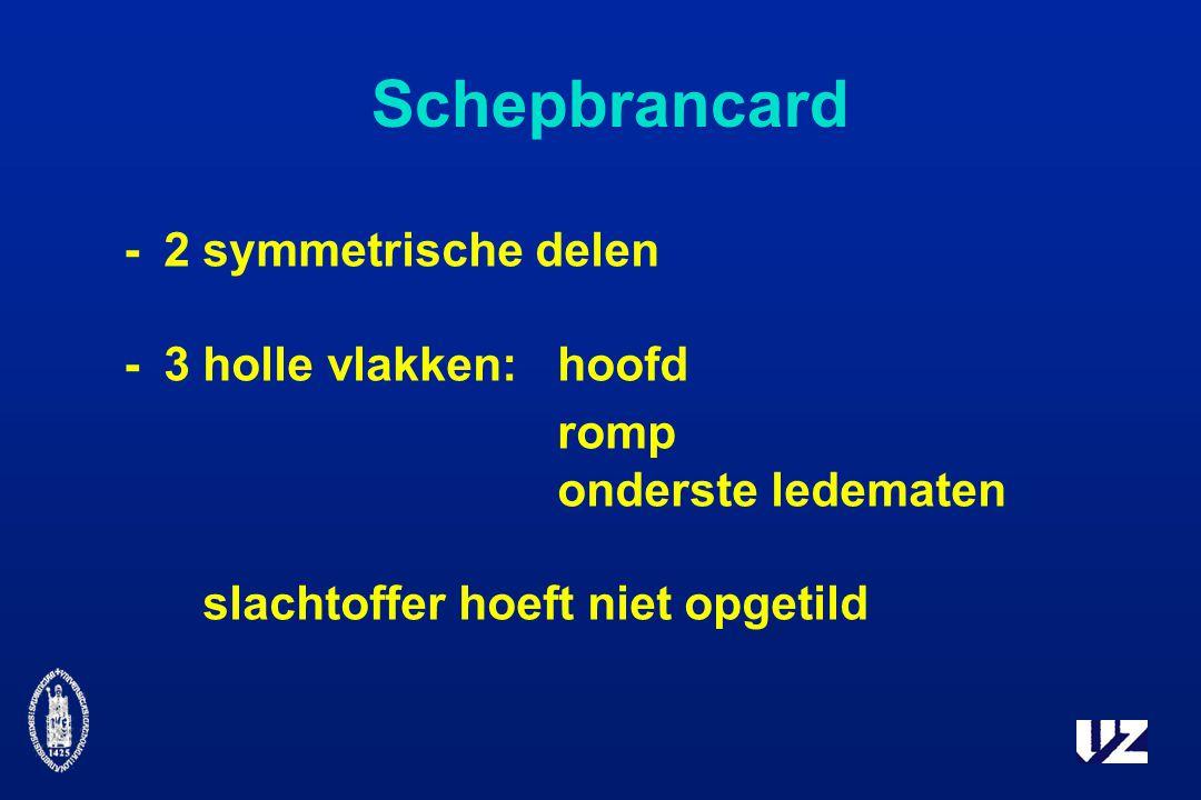 Schepbrancard -2 symmetrische delen -3 holle vlakken:hoofd romp onderste ledematen slachtoffer hoeft niet opgetild