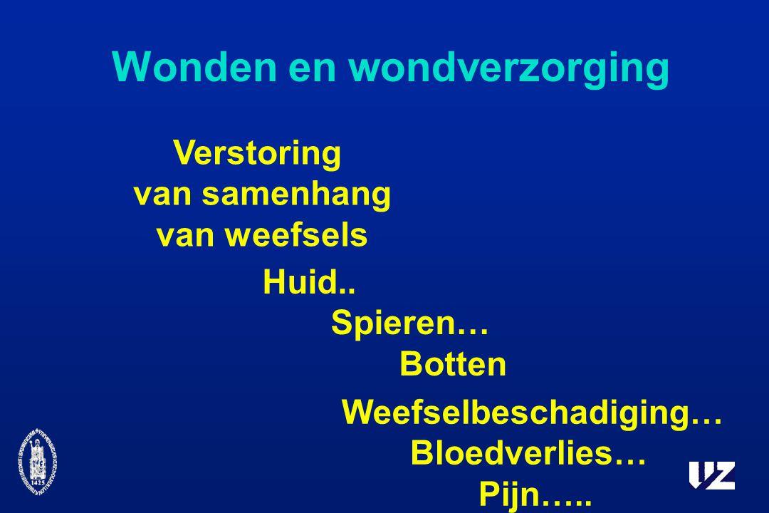Wonden en wondverzorging Verstoring van samenhang van weefsels Huid..