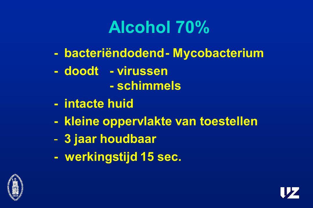 Alcohol 70% -bacteriëndodend- Mycobacterium -doodt- virussen - schimmels -intacte huid -kleine oppervlakte van toestellen -3 jaar houdbaar - werkingstijd 15 sec.