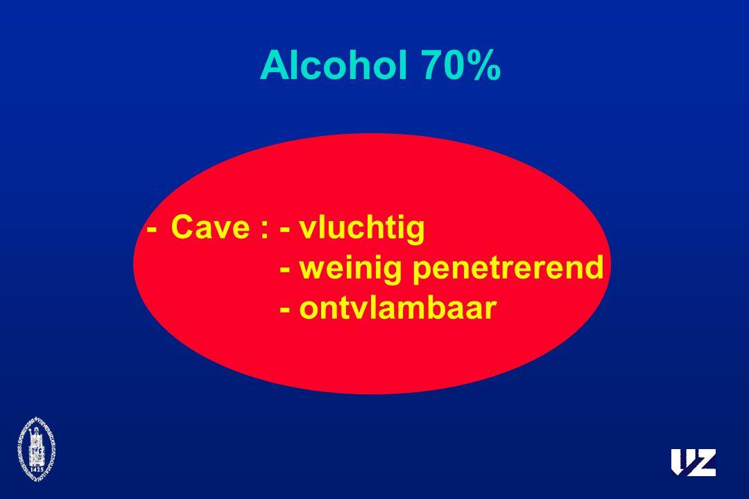 Alcohol 70% -Cave :- vluchtig - weinig penetrerend - ontvlambaar