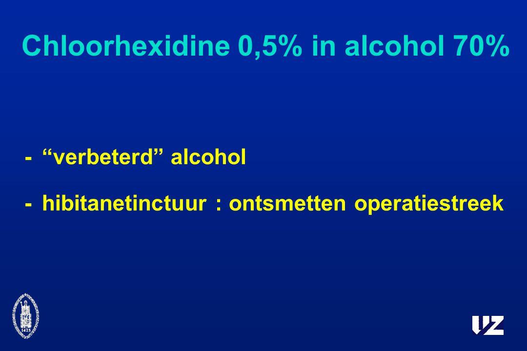 Chloorhexidine 0,5% in alcohol 70% - verbeterd alcohol -hibitanetinctuur : ontsmetten operatiestreek