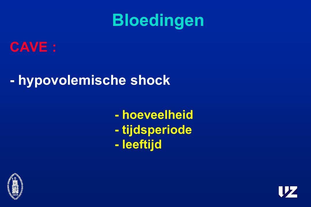 Bloedingen CAVE : - hypovolemische shock - hoeveelheid - tijdsperiode - leeftijd