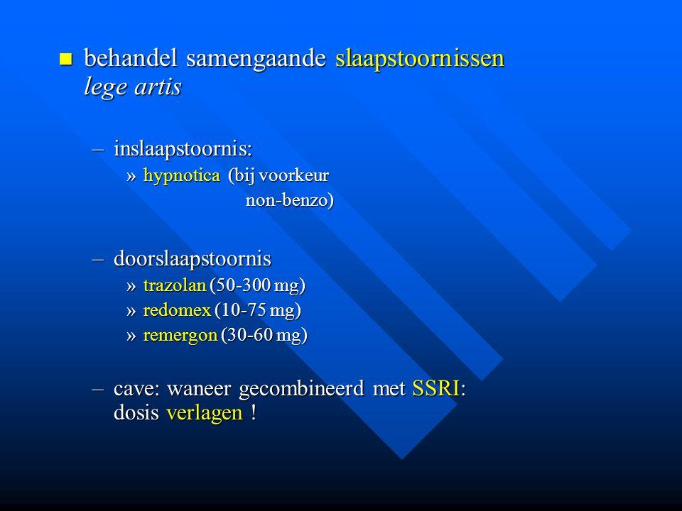 behandel samengaande slaapstoornissen lege artis behandel samengaande slaapstoornissen lege artis –inslaapstoornis: »hypnotica (bij voorkeur non-benzo