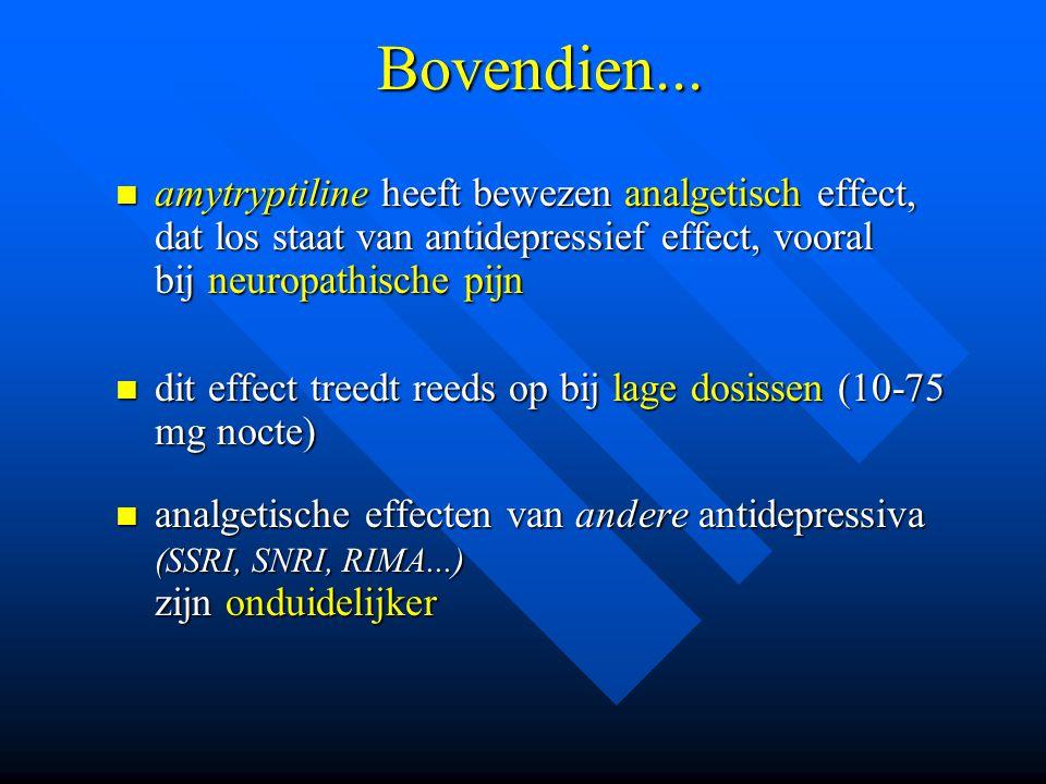 Bovendien... amytryptiline heeft bewezen analgetisch effect, dat los staat van antidepressief effect, vooral bij neuropathische pijn amytryptiline hee