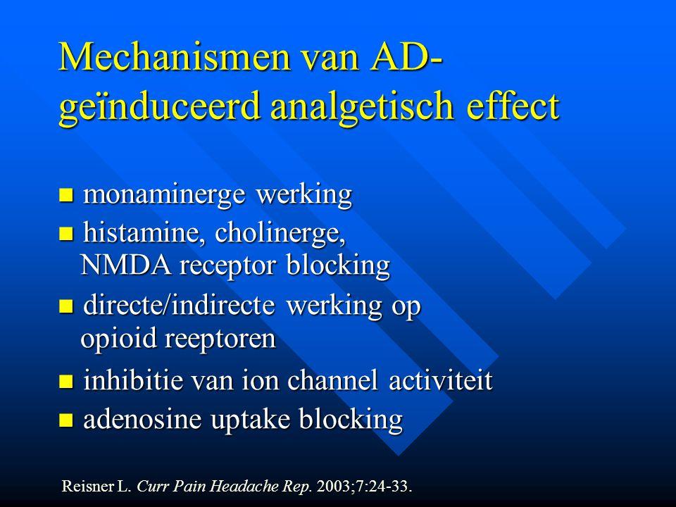 Mechanismen van AD- geïnduceerd analgetisch effect monaminerge werking monaminerge werking histamine, cholinerge, histamine, cholinerge, NMDA receptor