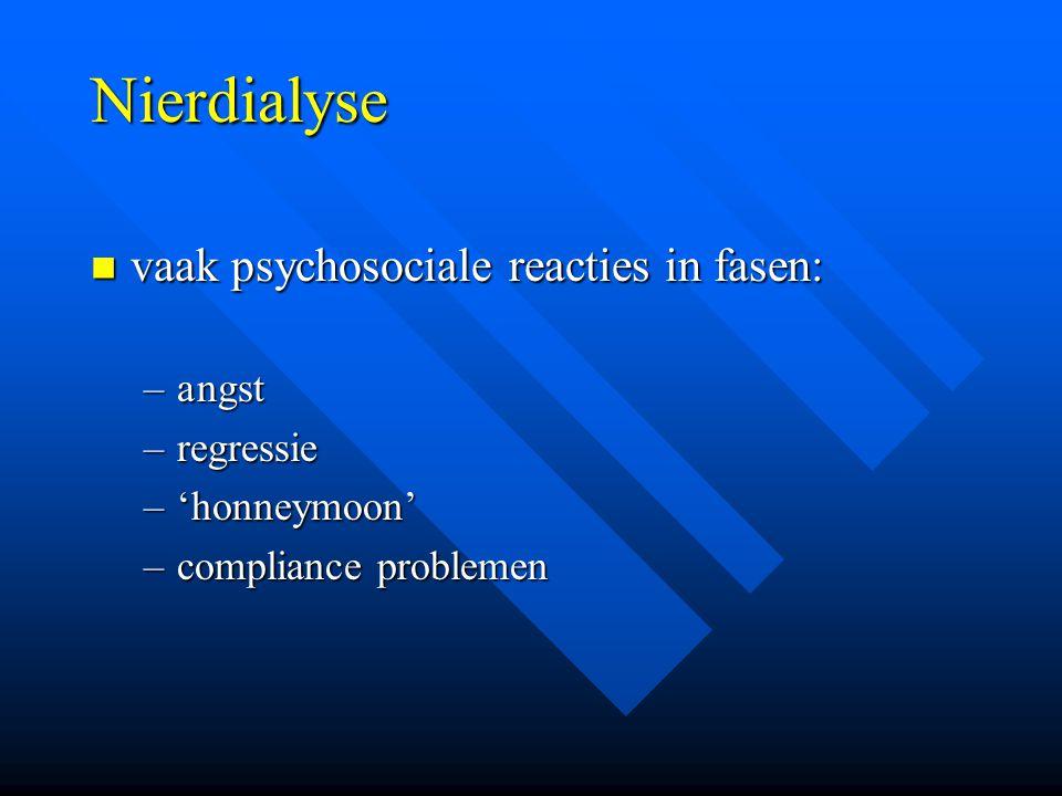 Nierdialyse vaak psychosociale reacties in fasen: vaak psychosociale reacties in fasen: –angst –regressie –'honneymoon' –compliance problemen