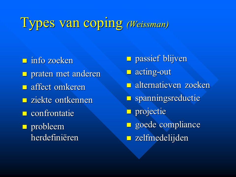 Types van coping (Weissman) info zoeken info zoeken praten met anderen praten met anderen affect omkeren affect omkeren ziekte ontkennen ziekte ontken