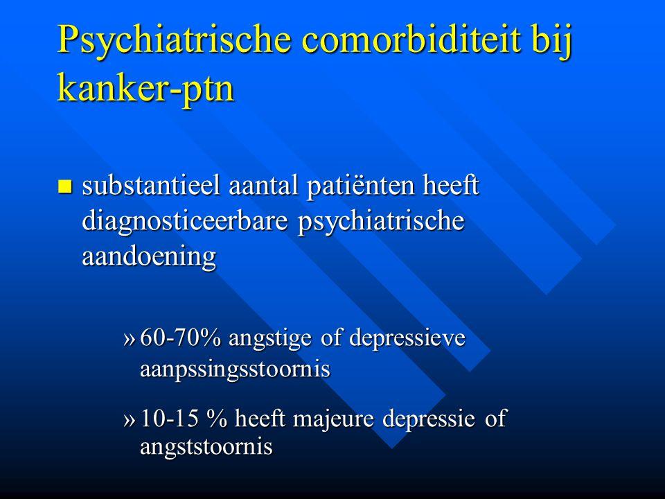 Psychiatrische comorbiditeit bij kanker-ptn substantieel aantal patiënten heeft diagnosticeerbare psychiatrische aandoening substantieel aantal patiën