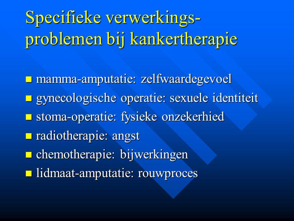 Specifieke verwerkings- problemen bij kankertherapie mamma-amputatie: zelfwaardegevoel mamma-amputatie: zelfwaardegevoel gynecologische operatie: sexu