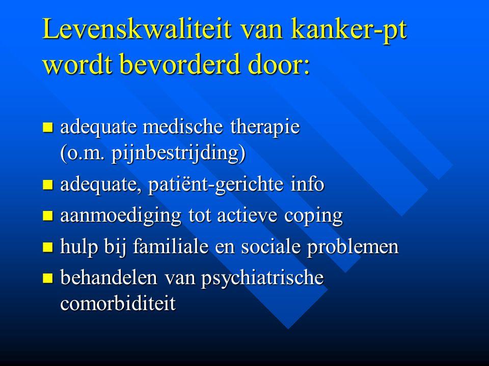Levenskwaliteit van kanker-pt wordt bevorderd door: adequate medische therapie (o.m. pijnbestrijding) adequate medische therapie (o.m. pijnbestrijding