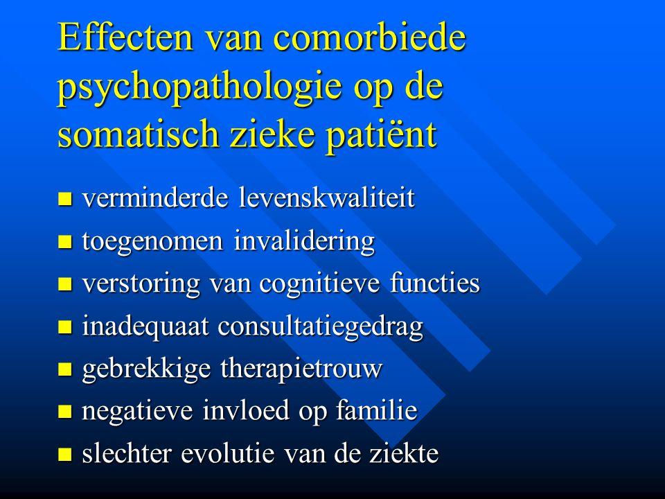 Effecten van comorbiede psychopathologie op de somatisch zieke patiënt verminderde levenskwaliteit verminderde levenskwaliteit toegenomen invalidering