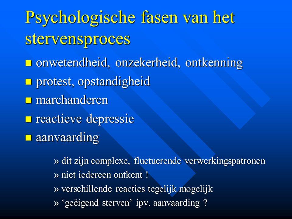 Psychologische fasen van het stervensproces onwetendheid, onzekerheid, ontkenning onwetendheid, onzekerheid, ontkenning protest, opstandigheid protest