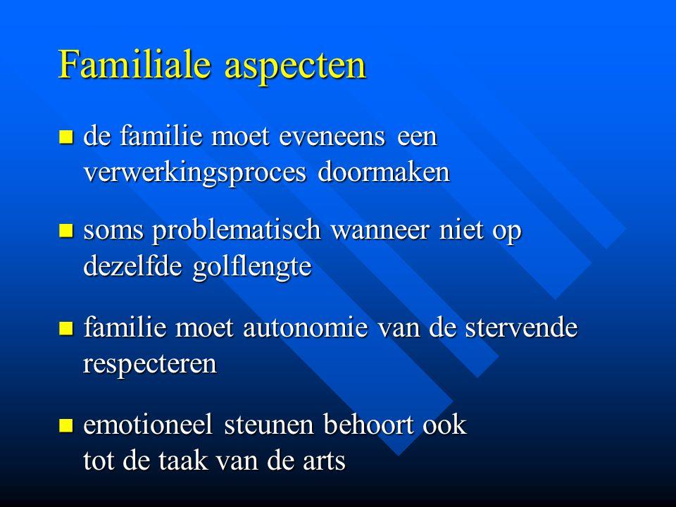 Familiale aspecten de familie moet eveneens een verwerkingsproces doormaken de familie moet eveneens een verwerkingsproces doormaken soms problematisc
