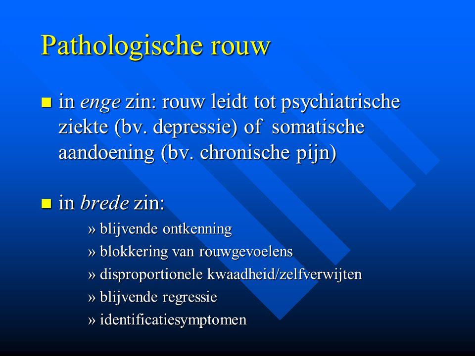 Pathologische rouw in enge zin: rouw leidt tot psychiatrische ziekte (bv. depressie) of somatische aandoening (bv. chronische pijn) in enge zin: rouw
