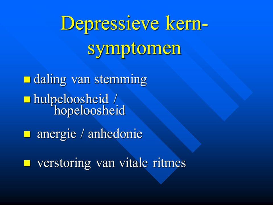 Depressieve kern- symptomen daling van stemming daling van stemming hulpeloosheid / hulpeloosheid / hopeloosheid hopeloosheid anergie / anhedonie aner