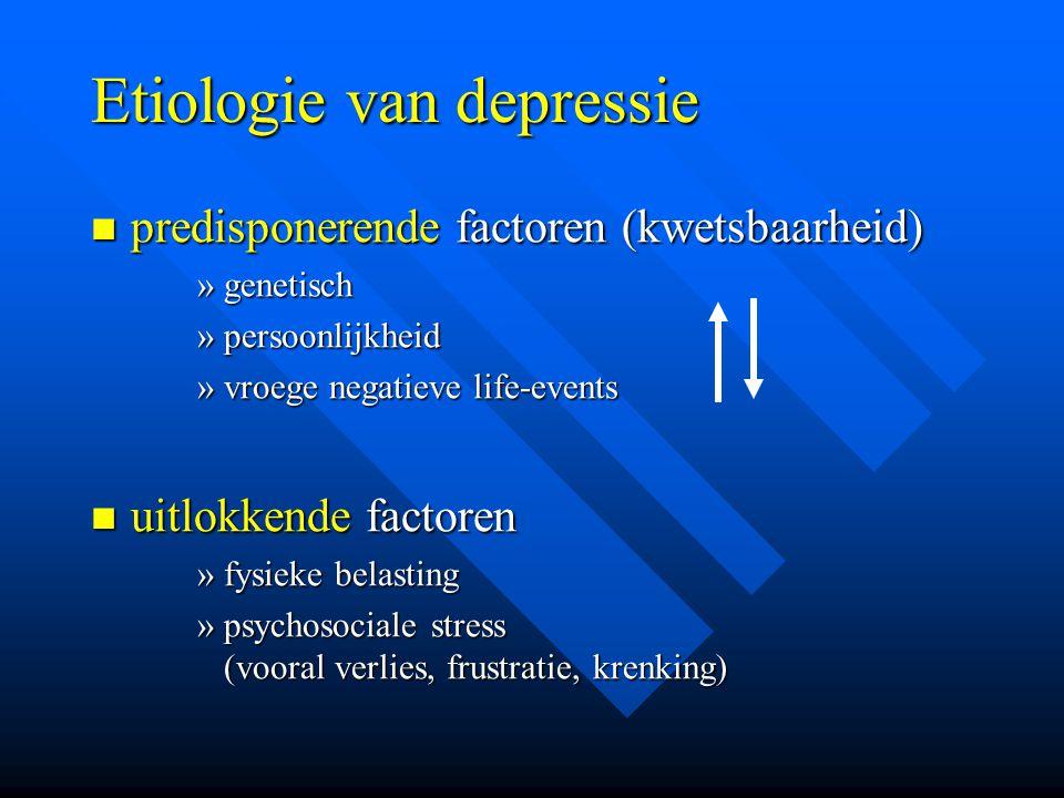 Etiologie van depressie predisponerende factoren (kwetsbaarheid) predisponerende factoren (kwetsbaarheid) »genetisch »persoonlijkheid »vroege negatiev