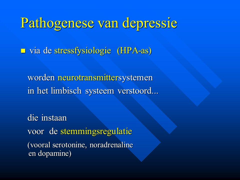 Pathogenese van depressie via de stressfysiologie (HPA-as) via de stressfysiologie (HPA-as) worden neurotransmittersystemen worden neurotransmittersys