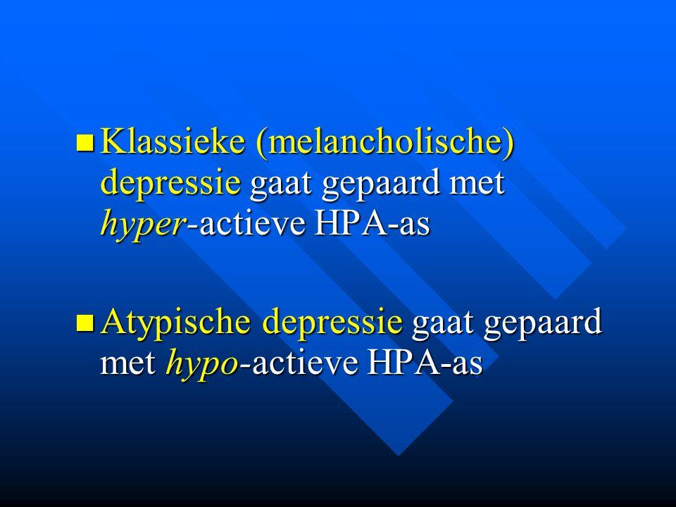 Klassieke (melancholische) depressie gaat gepaard met hyper-actieve HPA-as Klassieke (melancholische) depressie gaat gepaard met hyper-actieve HPA-as