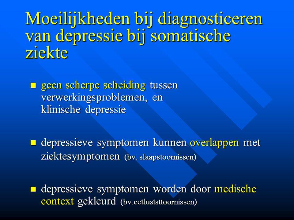 Moeilijkheden bij diagnosticeren van depressie bij somatische ziekte geen scherpe scheiding tussen verwerkingsproblemen, en klinische depressie geen s