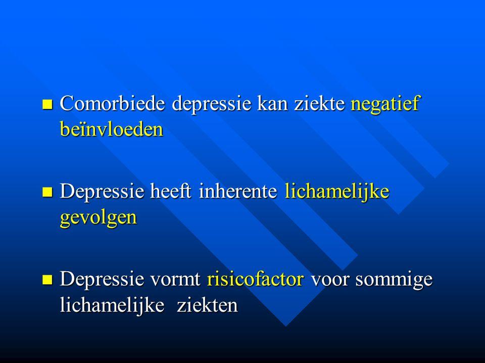 Comorbiede depressie kan ziekte negatief beïnvloeden Comorbiede depressie kan ziekte negatief beïnvloeden Depressie heeft inherente lichamelijke gevol