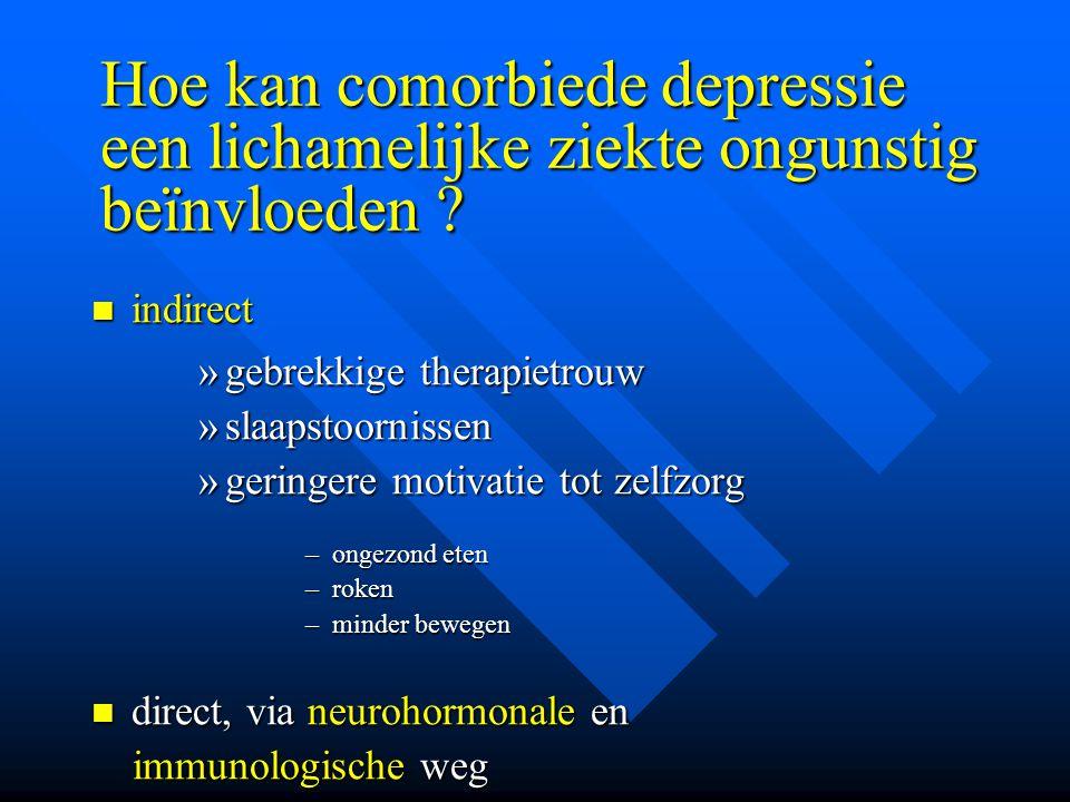Hoe kan comorbiede depressie een lichamelijke ziekte ongunstig beïnvloeden ? indirect indirect »gebrekkige therapietrouw »slaapstoornissen »geringere