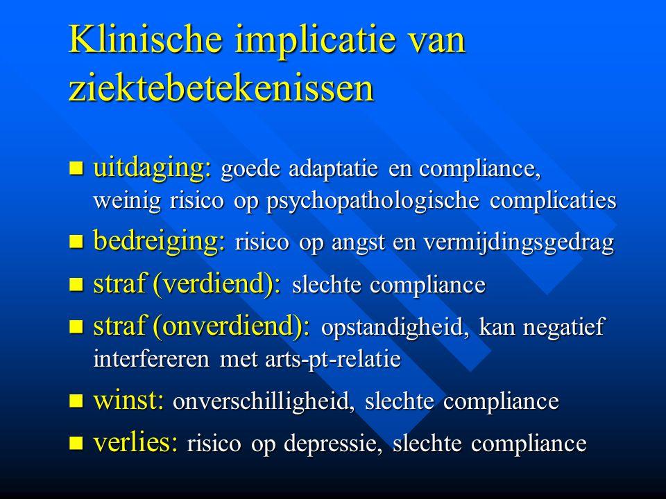 Klinische implicatie van ziektebetekenissen uitdaging: goede adaptatie en compliance, weinig risico op psychopathologische complicaties uitdaging: goe