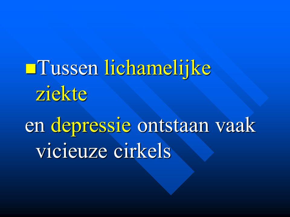 Tussen lichamelijke ziekte Tussen lichamelijke ziekte en depressie ontstaan vaak vicieuze cirkels