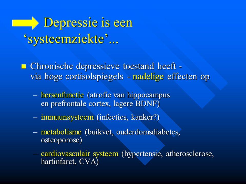 Depressie is een 'systeemziekte'... Depressie is een 'systeemziekte'... Chronische depressieve toestand heeft - via hoge cortisolspiegels - nadelige e