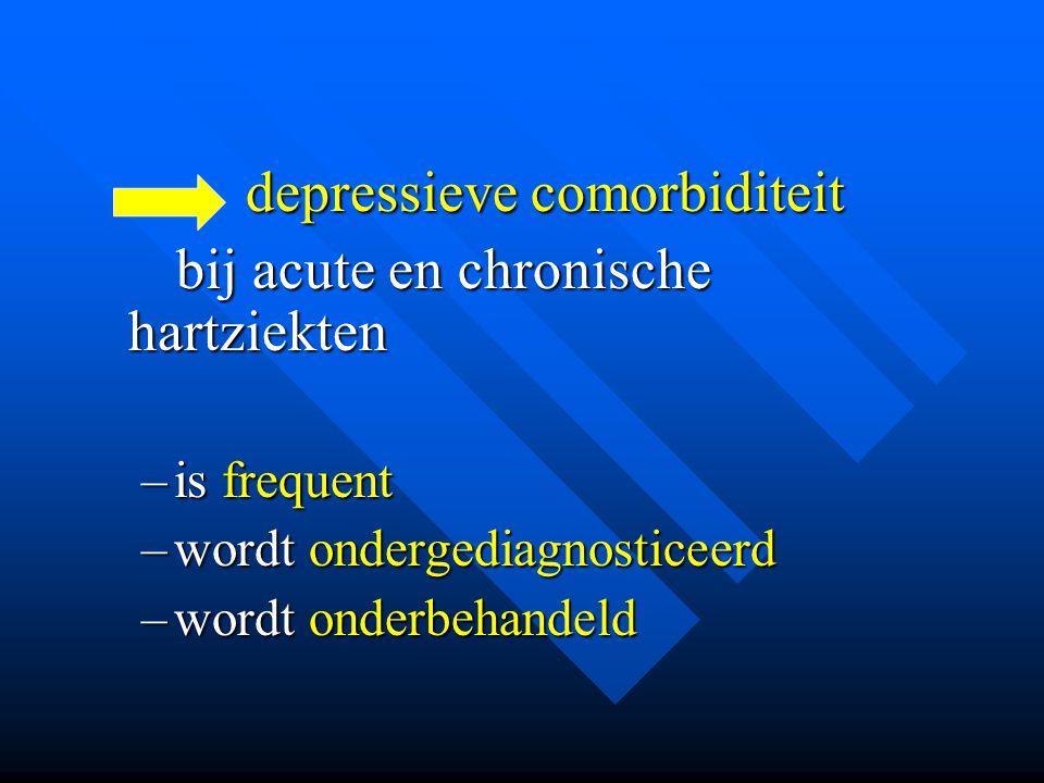 depressieve comorbiditeit depressieve comorbiditeit bij acute en chronische hartziekten bij acute en chronische hartziekten –is frequent –wordt onderg