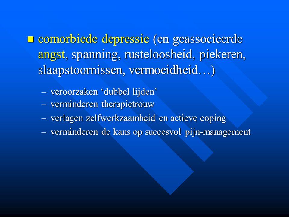 comorbiede depressie (en geassocieerde angst, spanning, rusteloosheid, piekeren, slaapstoornissen, vermoeidheid…) comorbiede depressie (en geassocieer