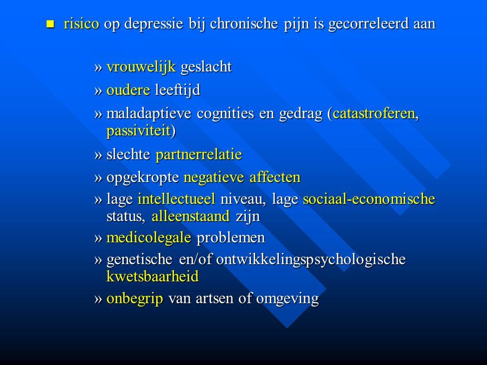 risico op depressie bij chronische pijn is gecorreleerd aan risico op depressie bij chronische pijn is gecorreleerd aan »vrouwelijk geslacht »oudere l