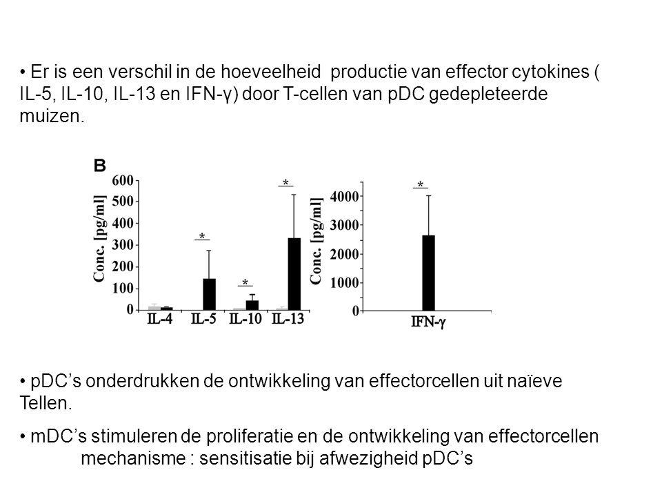 Er is een verschil in de hoeveelheid productie van effector cytokines ( IL-5, IL-10, IL-13 en IFN-γ) door T-cellen van pDC gedepleteerde muizen.
