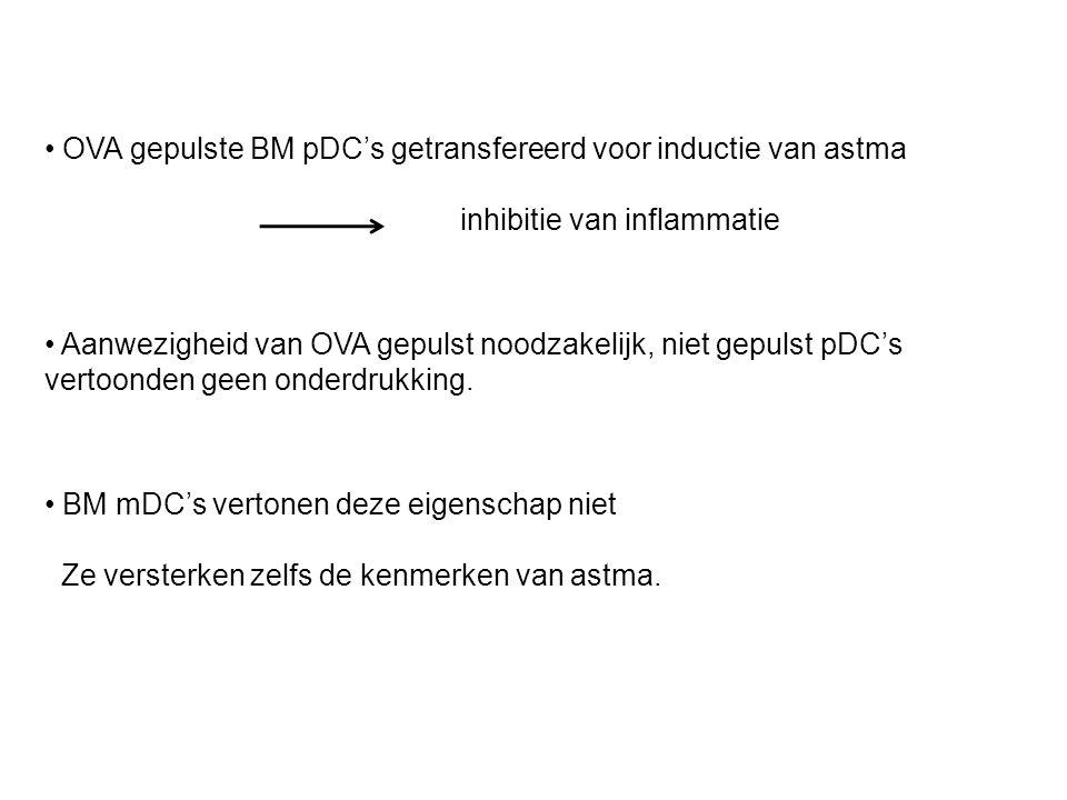 OVA gepulste BM pDC's getransfereerd voor inductie van astma inhibitie van inflammatie Aanwezigheid van OVA gepulst noodzakelijk, niet gepulst pDC's vertoonden geen onderdrukking.