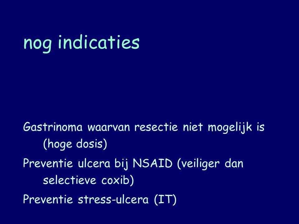 nog indicaties Gastrinoma waarvan resectie niet mogelijk is (hoge dosis) Preventie ulcera bij NSAID (veiliger dan selectieve coxib) Preventie stress-u