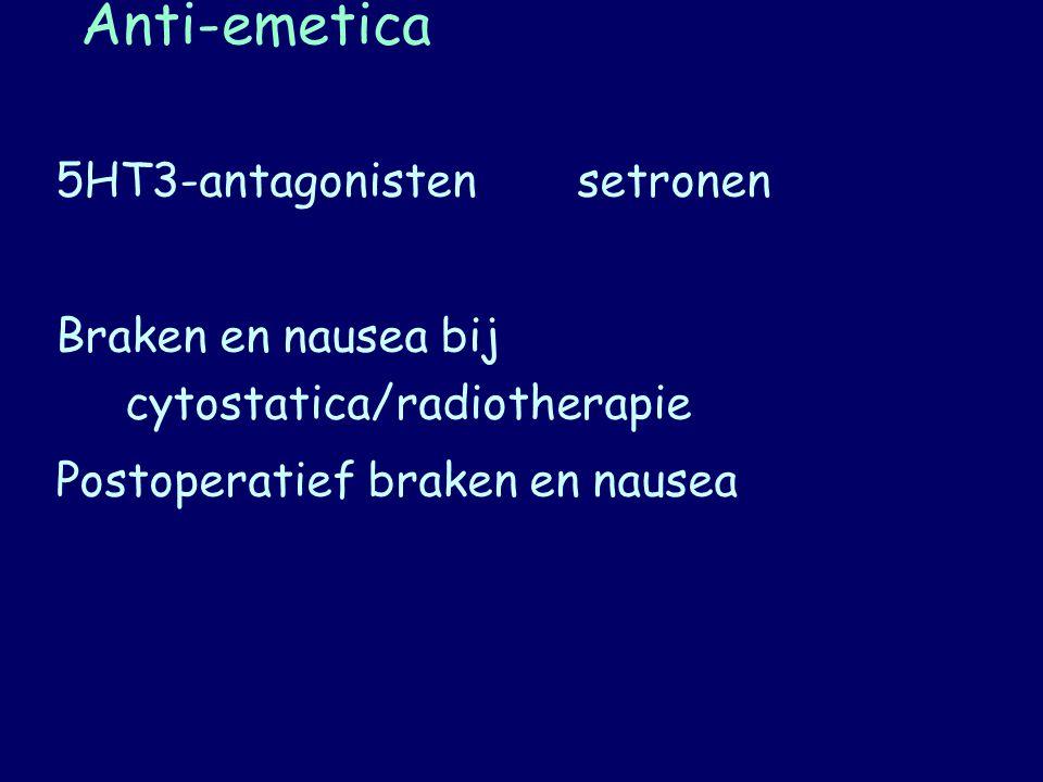 Anti-emetica 5HT3-antagonistensetronen Braken en nausea bij cytostatica/radiotherapie Postoperatief braken en nausea