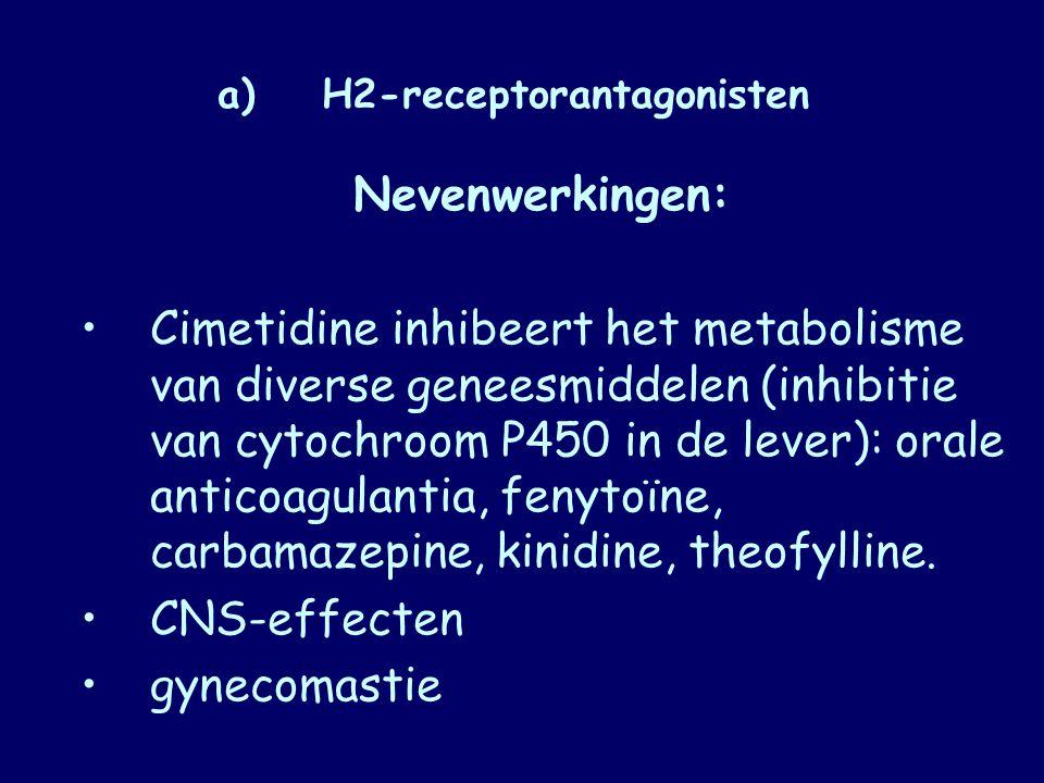 a)H2-receptorantagonisten Nevenwerkingen: Cimetidine inhibeert het metabolisme van diverse geneesmiddelen (inhibitie van cytochroom P450 in de lever):