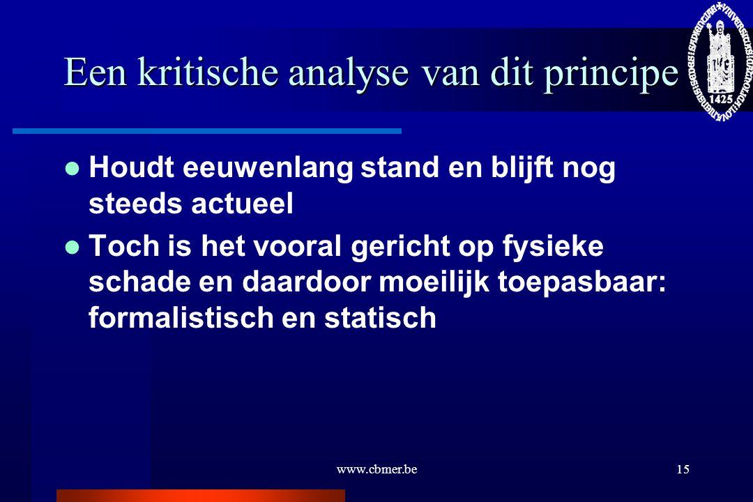 www.cbmer.be15 Een kritische analyse van dit principe Houdt eeuwenlang stand en blijft nog steeds actueel Toch is het vooral gericht op fysieke schade