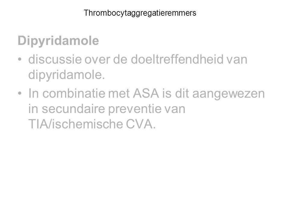Dipyridamole discussie over de doeltreffendheid van dipyridamole. In combinatie met ASA is dit aangewezen in secundaire preventie van TIA/ischemische