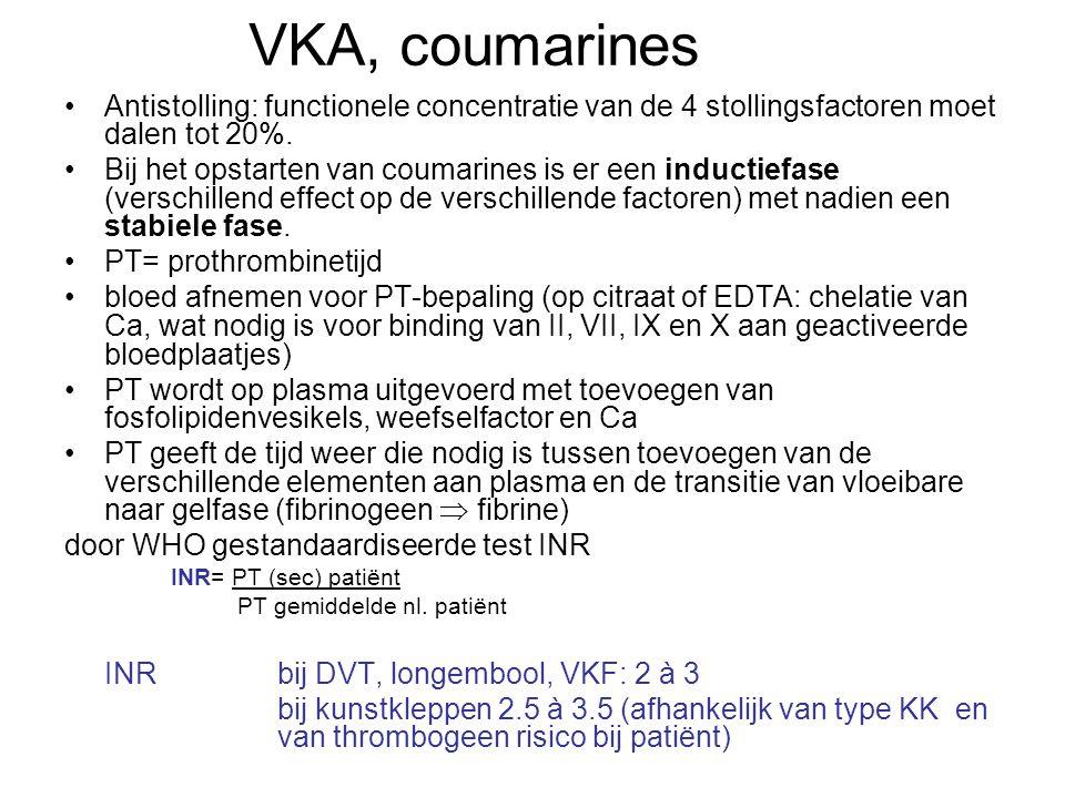 VKA, coumarines Antistolling: functionele concentratie van de 4 stollingsfactoren moet dalen tot 20%. Bij het opstarten van coumarines is er een induc