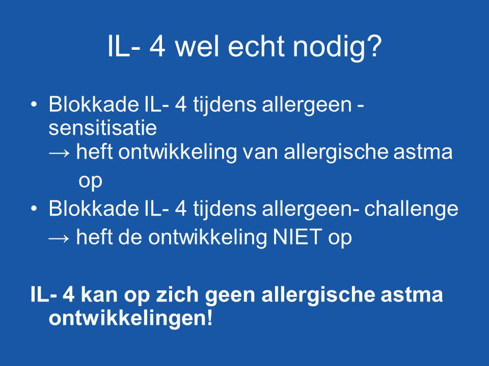 IL- 4 wel echt nodig? Blokkade IL- 4 tijdens allergeen - sensitisatie → heft ontwikkeling van allergische astma op Blokkade IL- 4 tijdens allergeen- c