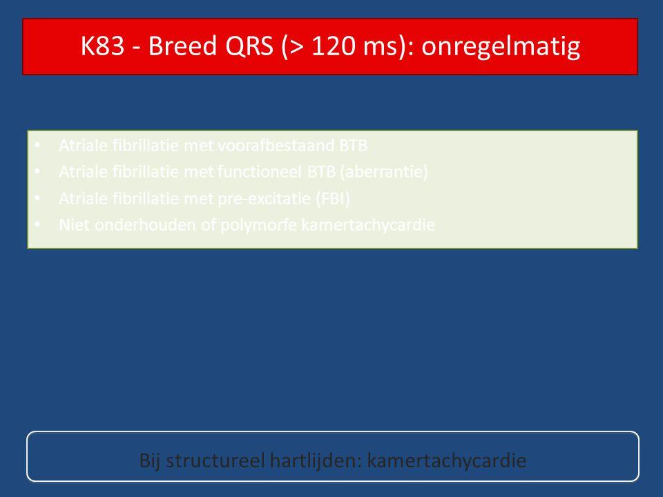 Atriale fibrillatie met voorafbestaand BTB Atriale fibrillatie met functioneel BTB (aberrantie) Atriale fibrillatie met pre-excitatie (FBI) Niet onder